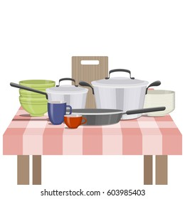 Vector illustration of kitchenware and utensil on table. Kitchen and food preparing topic.