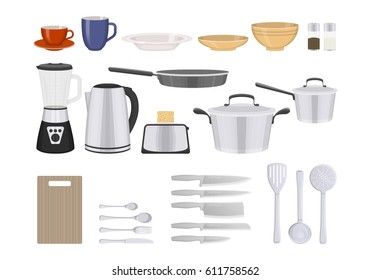 Vector illustration of kitchenware and utensil on white background. Kitchen and food preparing topic.