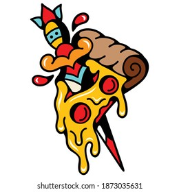Vector illustration of a knife-stabbed pizza cardboard character, perfect for pizza logos, food symbols and stickers