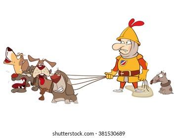 Vector Illustration of a knight. Cartoon Character