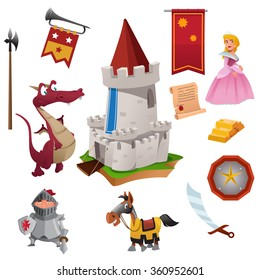 A vector illustration of knight and dragon icon sets