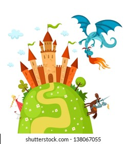 vector illustration of a knight, dragon and princess