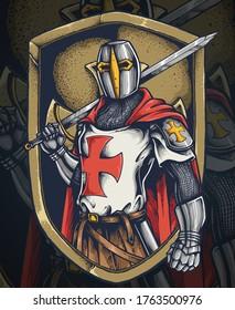 Vector illustration of knight templar