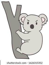Vector illustration of a koala with angry face