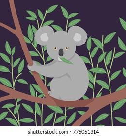 Vector illustration of koala sitting on tree.