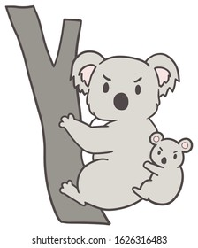 Vector illustration of koalas with anger
