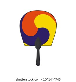 Vector illustration for Korean community: traditional round hand fan with a three-color Taegeuk symbol isolated. Traditional Fan is a symbol of Korea, associated with Korean culture and martial arts.