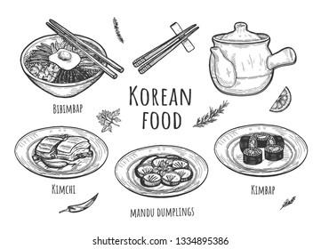Vector illustration of korean food set. Dishes with bibimbap, kimbap, kimchi, mandu dumplings, teapot, sticks, spice. Vintage hand drawn style.