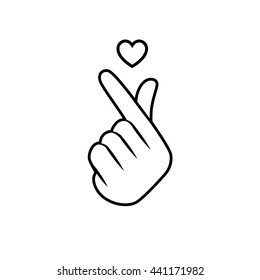 Vector illustration. Korean symbol hand heart, a message of love hand gesture. Sign icon stylized for the web and print. The hand folded into a heart symbol.