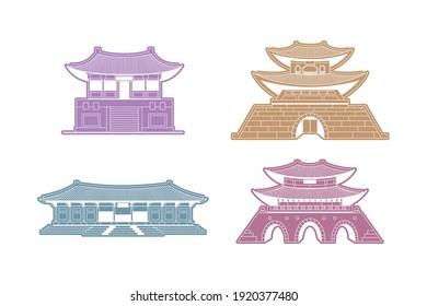Vector illustration of Korean traditional houses Hanok. Template for badge, card, invitation, banner, logo. Flat vector silhouette, outline landscape, landmark, icon. EPS 10