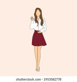 Vector illustration of Kpop street fashion. Street idols of Koreans. K pop male idol fashion.A girl in a burgundy skirt and a white shirt.