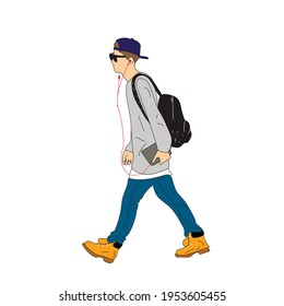 Vector illustration of Kpop street fashion. Street idols of Koreans. Kpop male idol fashion. A guy in blue jeans and a gray sweatshirt, a backpack on his back.
