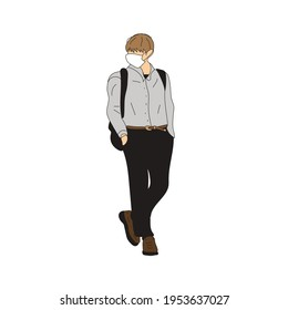 Vector illustration of Kpop street fashion. Street idols of Koreans. Kpop male idol fashion. A guy in a gray shirt and black pants with a backpack.