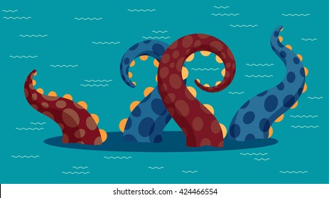 Vector illustration of kraken in ocean. Flat  style.