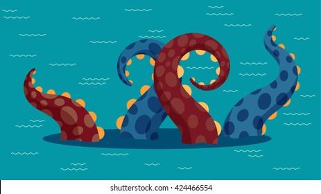 Vector illustration of kraken in ocean. Flat  style.