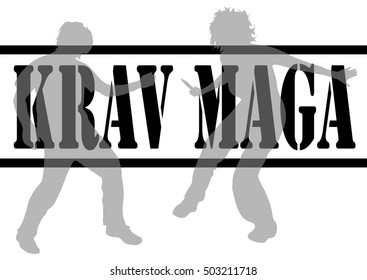 Vector illustration krav maga with silhouettes of people
