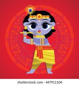 Vector illustration of Krishna. Design for Krishna birthday. Happy Janmashtami holiday.
