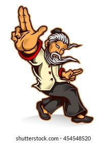 vector illustration of kung fu master character design