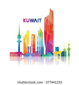 vector illustration kuwait city panorama with colorful geometric patterns