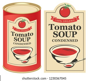 Vector illustration of label for condensed tomato soup with the image of a tomato on light background and red tin can with this label
