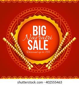Vector illustration or label  of Navratri celebration big navratri sale offers with dandiya stick background.