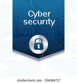 Vector illustration with label for web security and lock icon. Web virus digital protection hacker attack. Protection technology and cloud network security.