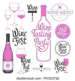 Vector illustration with labels, bottle, glass, corkscrewin sketch style. Alcoholic beverages set. Wine festival. Brush calligraphy elements for your design. Handwritten ink lettering.