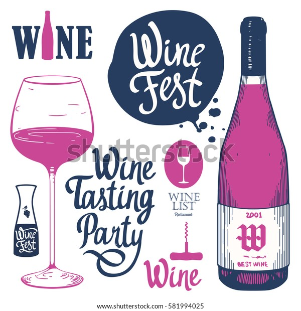 Vector illustration with labels, bottle, glass in sketch style. Alcoholic beverages set. Wine festival. Brush calligraphy elements for your design. Handwritten ink lettering.