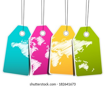 Vector illustration of labels with world map.