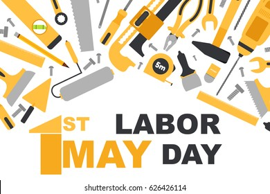 Vector illustration of Labor Day poster with building tools