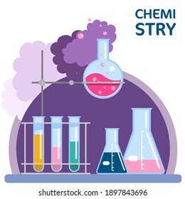 Vector illustration with laboratory equipment, chemistry logo. Chemical experiment