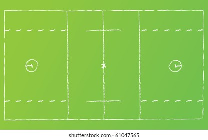 Vector illustration of lacrosse field on grass with chalk lines.