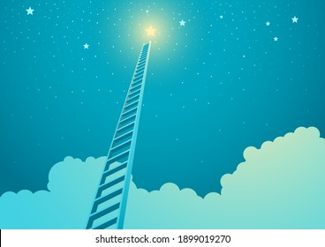 Vector illustration of a ladder leading to bright star, ladder to success concept