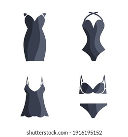 vector illustration of ladies clothing icons set.  bra, slips, slips, swimsuit, dress.  with a minimalist flat design style.  eps 10.