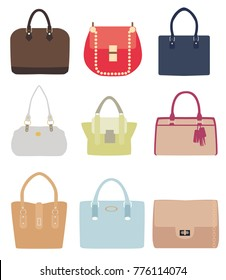 vector illustration of ladies handbags different styles isolated on white background.