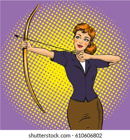 Vector illustration of lady archer stringing the bow in retro pop art comic style. Archery concept.