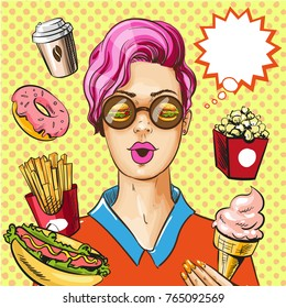 Vector illustration of lady with burgers in her eyes and paper coffee cup, appetizing donut, pop corn, hot dog, french fries, ice cream, thought bubble. Fast food poster in retro pop art comic style.