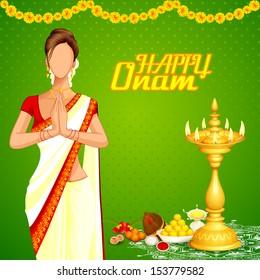 vector illustration of lady wishing happy Onam