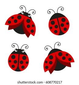 Vector Illustration of Ladybugs