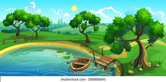 Vector illustration. Lake in the forest with a pier and a boat. Landscape panorama.