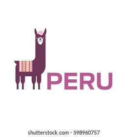 Vector illustration of lama for Peru Logo.
