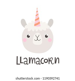 Vector illustration with lama and text llamacorn.