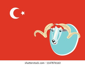 Vector illustration. Lamb on the holiday kurban bairam. Suitable for invitations, postcards, flyers, postcards, printed products and social networks.