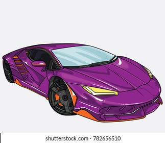 vector illustration of lamborghini  car  separate on white background. Editable vector file.