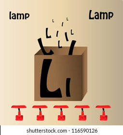 """Vector illustration of lamp and english letter """"L"""""""