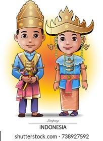 Vector illustration, Lampung traditional clothing