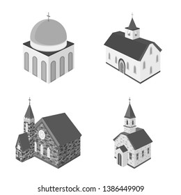 Vector illustration of landmark and clergy icon. Collection of landmark and religion stock vector illustration.
