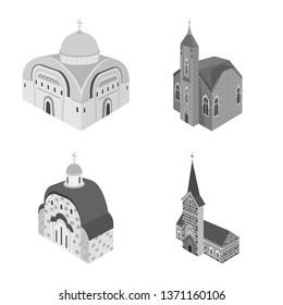Vector illustration of landmark and clergy logo. Collection of landmark and religion stock vector illustration.