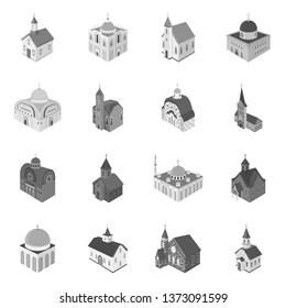 Vector illustration of landmark and clergy sign. Collection of landmark and religion vector icon for stock.