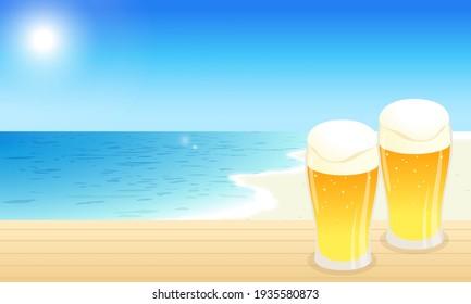 Vector illustration landscape of beer, blue sky and sea (background)